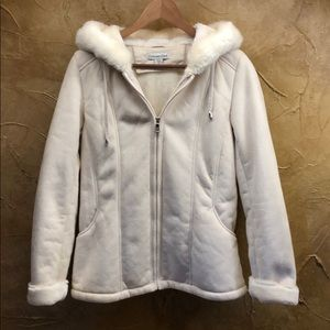 COLDWATER CREEK CREAM COLORED HOODED COAT SZ XS